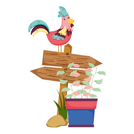 wooden arrow with rooster and houseplant vector illustration design Ilustração