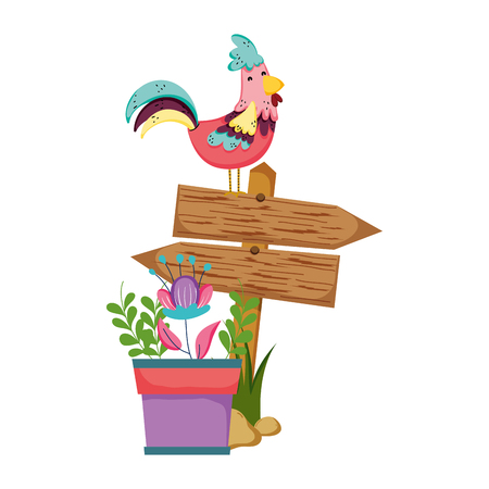 wooden arrow with rooster and houseplant vector illustration design