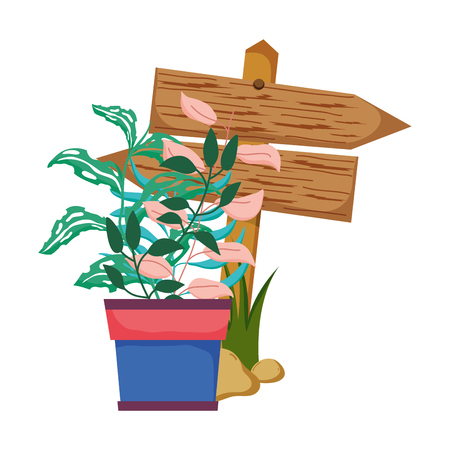 wooden arrow with houseplant vector illustration design Ilustração