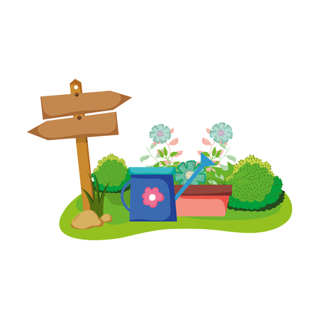 wooden arrow with houseplant and sprinkler in the field vector design