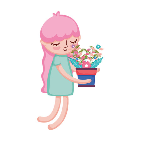 little girl lifting houseplant vector illustration design