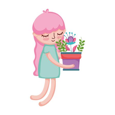 little girl lifting houseplant vector illustration design