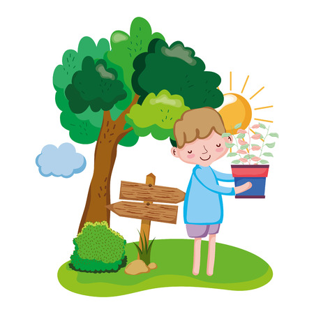 boy lifting houseplant with arrow sign and tree vector illustration design