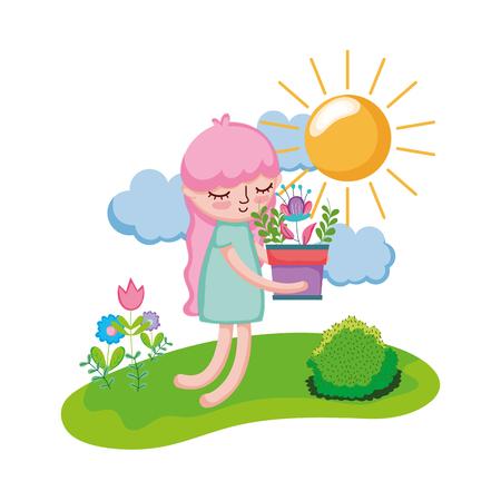 little girl lifting houseplant in the landscape vector illustration design Illustration