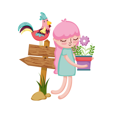 girl lifting houseplant with arrow signal and rooster vector illustration Vektorové ilustrace