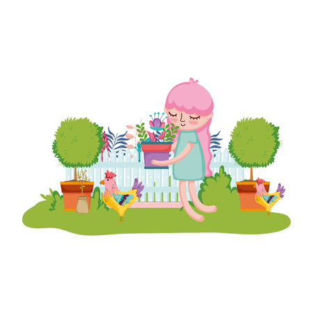 girl lifting houseplant with rooster in the garden vector illustration 向量圖像