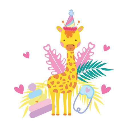cute and little giraffe with party hat and garden vector illustration design
