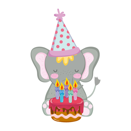 cute and little elephant with party hat and sweet cake vector illustration design