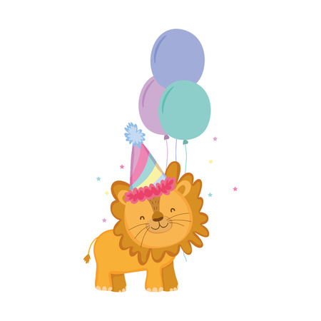cute and little lion with party hat and balloons air Foto de archivo