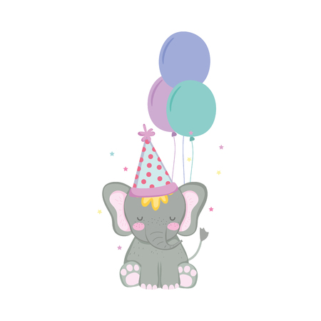 cute and little elephant with party hat and balloons air vector illustration