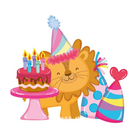 mignon et petit lion avec party hat vector illustration design Vecteurs