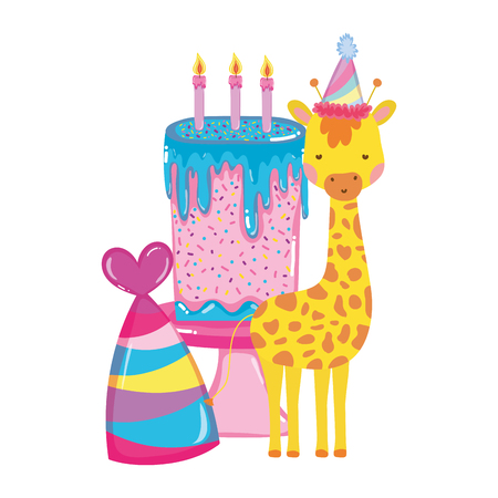 cute and little giraffe with party hat character vector illustration design