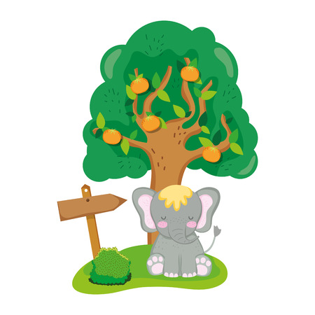 cute and little elephant character vector illustration design Illustration