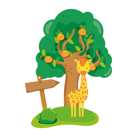 cute and little giraffe character vector illustration design