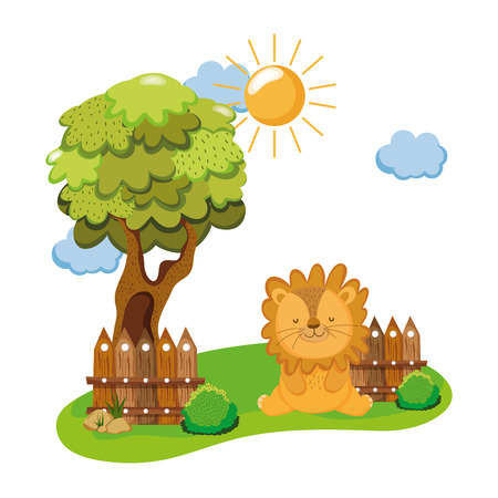 cute and little lion character vector illustration design
