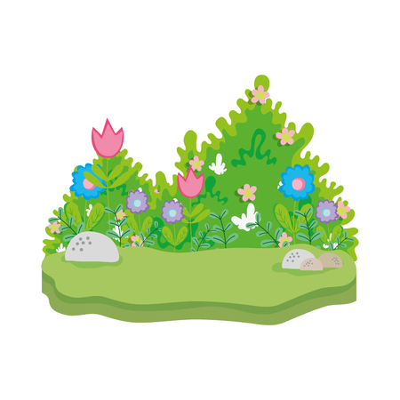 cute fairytale landscape scene vector illustration design