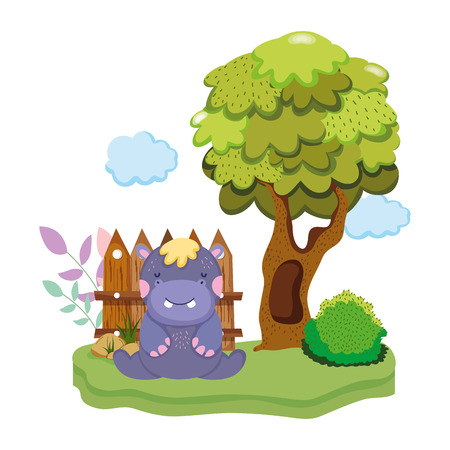 cute and little hippo character vector illustration design
