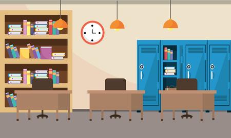 school study classroom cartoon vector illustration graphic design
