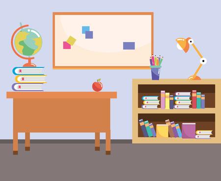 Diseño gráfico del ejemplo del vector de la historieta del aula del estudio de la escuela