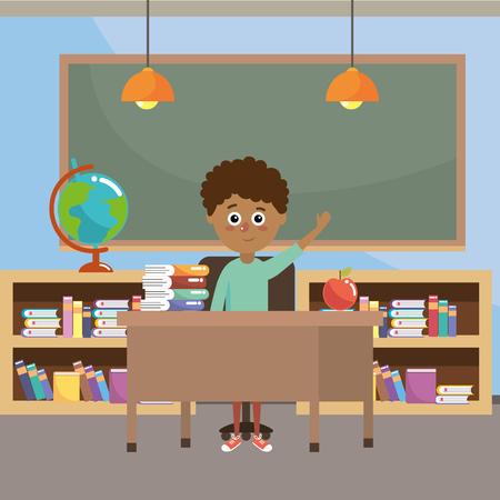 elementary school student boy cartoon vector illustration graphic design Vecteurs