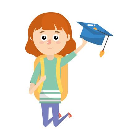 elementary school student girl cartoon vector illustration graphic design