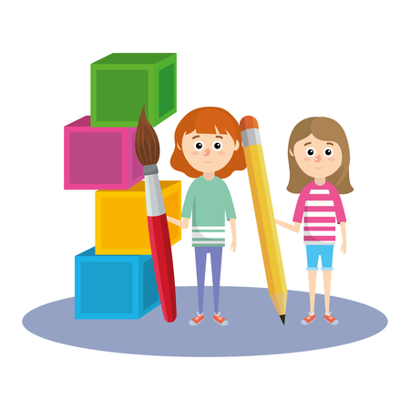 elementary school student girls cartoon vector illustration graphic design Illustration