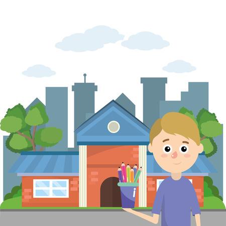 elementary school student boy cartoon vector illustration graphic design