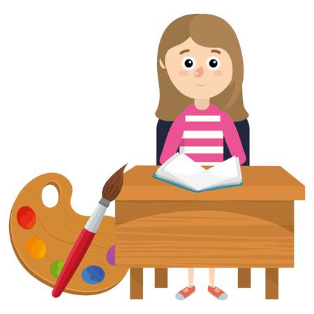 Diseño gráfico del ejemplo del vector de la historieta de la muchacha del estudiante de la escuela primaria