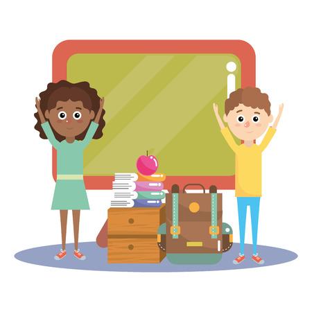 elementary school students children cartoon vector illustration graphic design