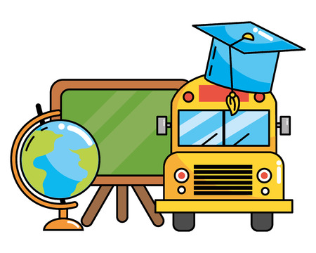 elementary school bus and study elements cartoon