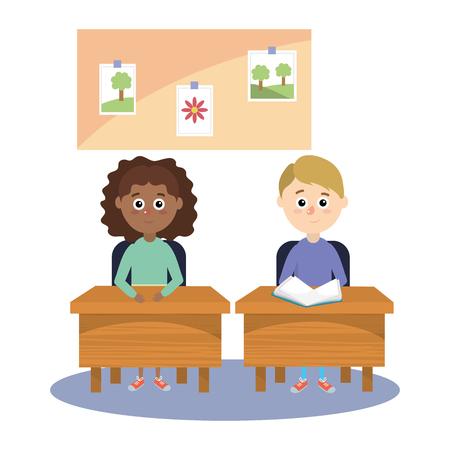 Diseño gráfico del ejemplo del vector de la historieta de los niños de los estudiantes de la escuela primaria