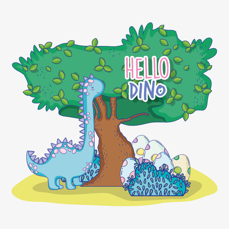 cute brontosaurus with dino eggs and tree vector illustration