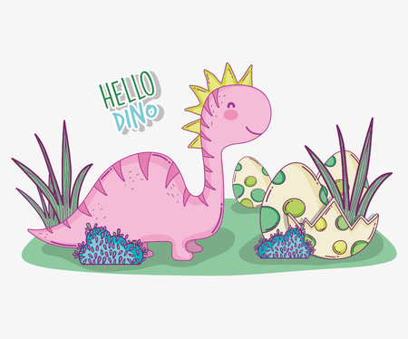 cute saltasaurus with dino egg in the bushes vector illustration Illusztráció