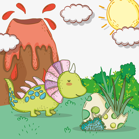 cute styracosaurus with dino eggs and volcano