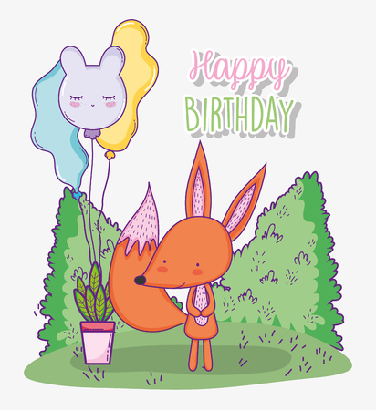 cute fox happy birthday with balloons and plant vector illustration