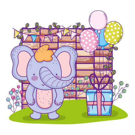 cute elephant happy birthday with present gift vector illustration