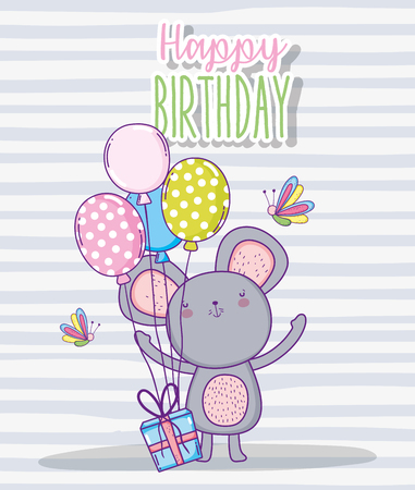 cute koala happy birthday with balloons and present gift vector illustration