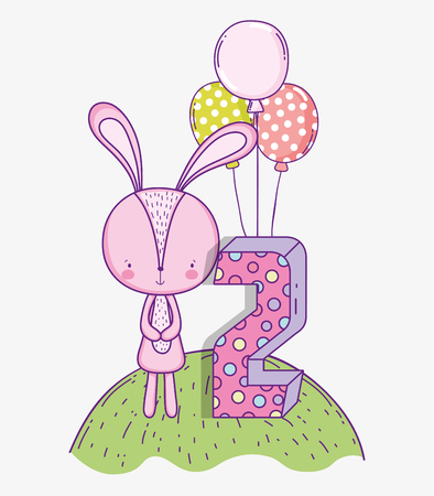 rabbit happy birthday celebration the two years vector illustration