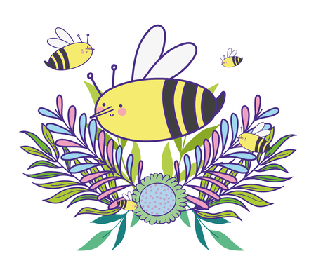 bee with spring branches leaves plant vector illustration Ilustração