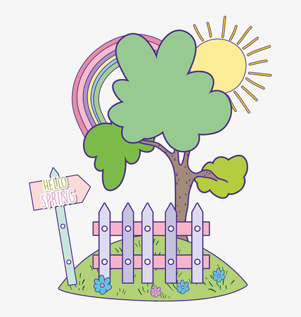spring tree with rainbow and wood grillage vector illustration