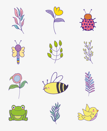 set flowers with branches leaves and insects animals vector illustration Illustration