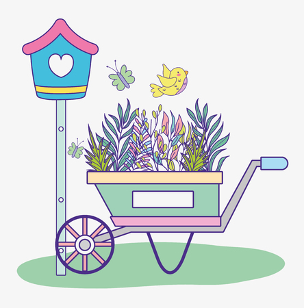 mailbox with branches leaves plants inside wheelbarrow vector illustration