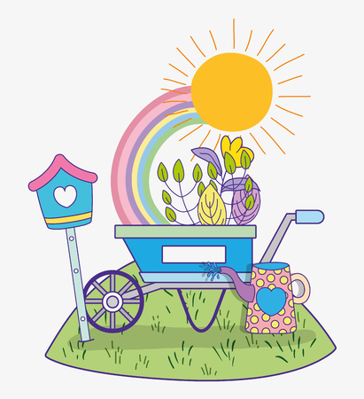 flower with leaves plants in the spring and wheelbarrow vector illustration