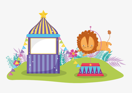 circus store with lion jumping the hoop vector illustration