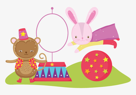 monkey and rabbit costume in the ball jumping hoop
