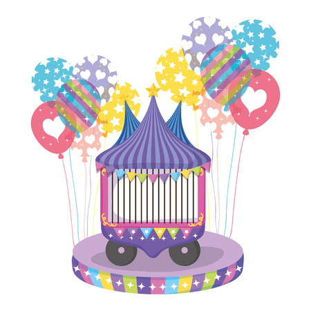 circus car with entertainment ball event vector illustration Stock Illustratie