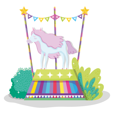 circus with horse animal to show entertainment vector illustration Vectores