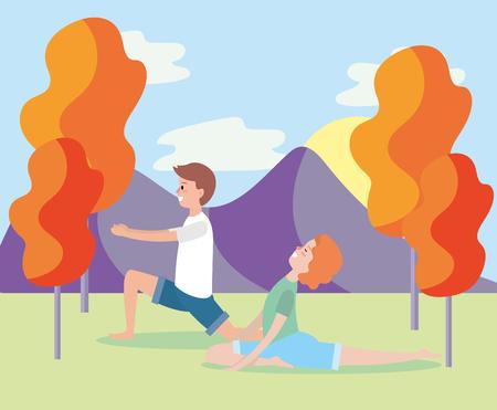man and woman training yoga pose vector illustration