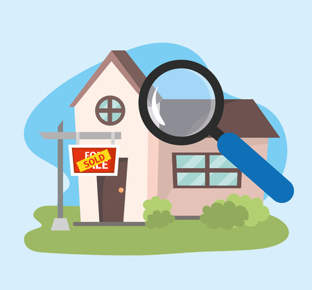 house sold property plan with magnifying glass vector illustration