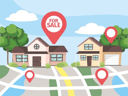 map location to house property sale vector illustration